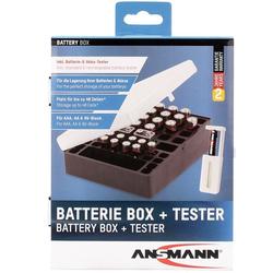 Ansmann Akku und Batterien Aufbewahrungs-Box für bis zu 24x AA, 16x AAA, 4x 9V, inklusive Tester
