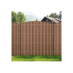 neu.holz Gartenzaun, Siero Lamellenzaun Rund WPC Sichtschutz 180x(165-180)cm Braun braun