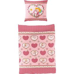 Kinderbettwäsche Herz, Prinzessin Lillifee, mit Herzen und Blumen rosa