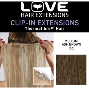 Love Hair Extensions Einteilige Thermofiber-Clip-In-Extensions Farbe 10 - Mittleres Aschbraun - 46cm, 1er Pack (1 x 22 g)