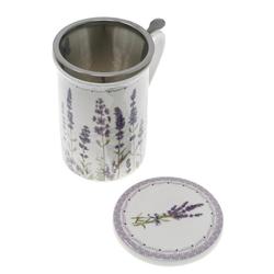Lashuma Tasse Lavendel, Porzellan, Porzellantasse für Tee 300 ml, Trinkbecher mit Sieb und Untersetzer