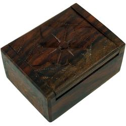 Guru-Shop Aufbewahrungsdose Beschnitzte Holzdose, Schatztruhe, Schmuck.. 7 cm x 3 cm x 5 cm