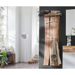 DELIFE Wandregal Ula, Eiche Natur 180x70 cm Massivholz Ablage mit Haken Kleiderstange