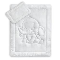 Kinderbettdecke + Kopfkissen, Kinderbettenset mit Elefantensteppung, KiGATEX, 2-teilig weiß