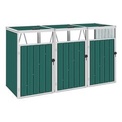 vidaXL Mülltonnenbox vidaXL Mülltonnenbox für 3 Mülltonnen Grün 213×81×121 cm Stahl
