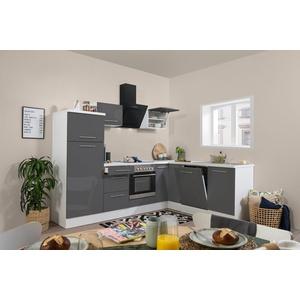 Winkelküche Küchenzeile Küche L-Form Einbauküche 260x200cm respekta weiß grau
