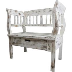 Casa Padrino Landhausstil Shabby Chic Sitzbank mit Schublade Antik Weiß / Braun 80 x 44 x H. 80 cm - Landhausstil Möbel