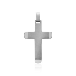 Teilpolierter Kreuz-Anhänger gravierbar Edelstahl