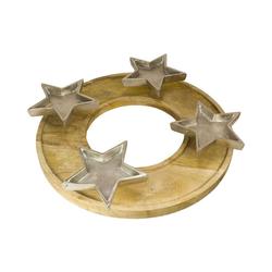 MEA LIVING Kerzenständer Kerzenhalter mit 4 Sternen, rund