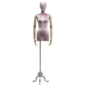 LSK- Schneiderpuppe Damenbüste Schneider Mannequin Dummy Clothing Store Mannequins Modell mit Metallfuß Auslage Regal (Color : Pink, Size : Silver)