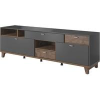 Trendmanufaktur Move TV-Lowboard 206 cm grau supermatt/eichefarben palazzo