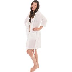 Damenbademantel 6352, Wewo fashion, aus leichtem Pestemal weiß M
