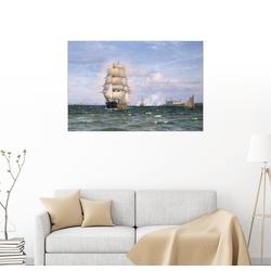 Posterlounge Wandbild, Eine dänische Barque vor dem Kronborg Slot 90 cm x 60 cm