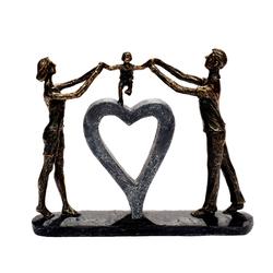 Brillibrum Dekofigur Design Skulptur Familie Polyresin Figur Paar große Dekofigur Herz abstrakte Kunstfigur Familienglück Kindheit Bronze Dekofigur der Familie & Liebe
