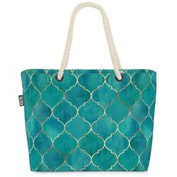 VOID Strandtasche (1-tlg), Marokkanisches Fliesen Bad Beach Bag Wasserfarben Aquarell Sauna türkisch