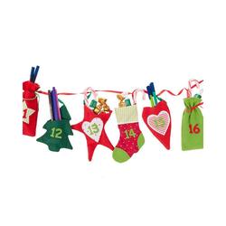 Hotex Wandkalender Adventskalender Girlande rot/grün, 250 cm