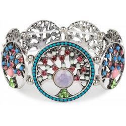 styleBREAKER Armreif Armband mit Lebensbaum Amuletten mit Perlen & Strass, Armband mit Lebensbaum Amuletten mit Perlen & Strass bunt
