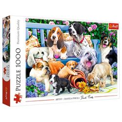 Trefl Puzzle Trefl 10556 Hunde im Garten 1000 Teile Puzzle, 1000 Puzzleteile