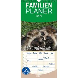 Marderhunde - Familienplaner hoch (Wandkalender 2021  21 cm x 45 cm hoch)