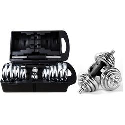 breluxx fitness Hantel-Set Hanteln 20kg Kurzhantel Chrom, hochwertige Hantelset im Koffer