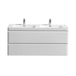 Zwei Personen Waschtisch in Weiß Hochglanz Einlass-Doppelwaschbecken