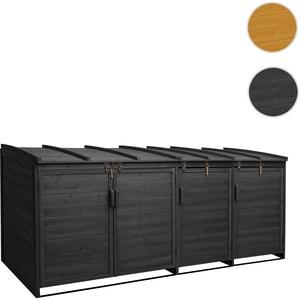 XL 4er-/8er-Mülltonnenverkleidung HWC-H75, Mülltonnenbox, erweiterbar 116x66x92cm Holz FSC-zertifizi