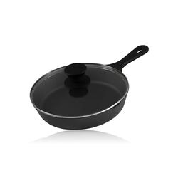 BBQ-Toro Grillpfanne BBQ-Toro Gusseisen Grillpfanne Ø 19 cm mit Glasdeckel, Bratpfanne