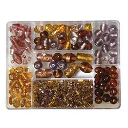 Rayher Perlen-Set Glasperlenbox pflaume