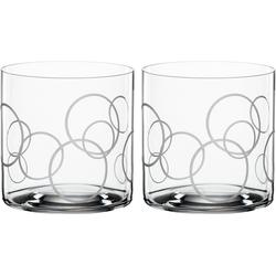 SPIEGELAU Tumbler-Glas Circles, Kristallglas, Dekor graviert, 340 ml, 2-teilig