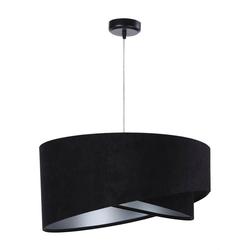Licht-Erlebnisse Pendelleuchte DIANE Pendelleuchte Stoff Silber Velours Optik Wohnzimmer Schlafzimmer Lampe