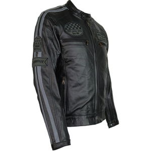 MDM Herren Motorrad Retro Racing Streifen Lederjacke