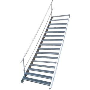Stahltreppe Industrietreppe Aussentreppe Treppe 16 Stufen-Breite 100cm Variable Geschosshöhe 274-340cm mit einseitigem Geländer