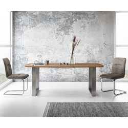 DELIFE Eettafel Curved-Edge 200x100 cm exotic wood, Tafels