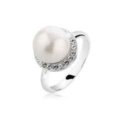 Nenalina Perlenring Muschelkern-Perle Kristalle 925 Silber 58 mm