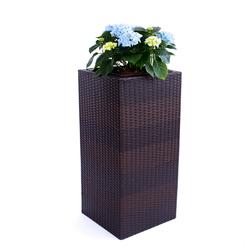 Blumenkübel, Übertopf Polyrattan Säule 30x30x55cm Coffee-braun.