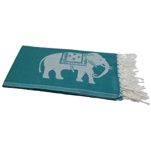 my Hamam Hamamtücher Hamamtuch petrolgrün weiß, mit großen Elefanten (1-St), mit Fransen