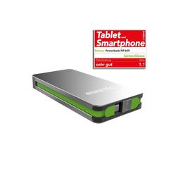 NINETEC NT-609 Zusatzakku Silber mit integriertem Micro-USB und USB Kabel Powerbank 9000 mAh (5 V)
