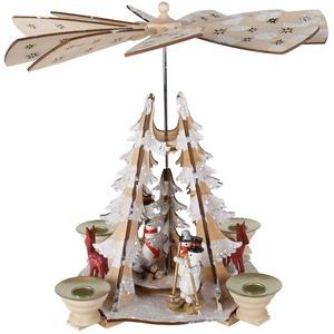 OBC Weihnachtspyramide/Schneemänner und Rehe Natur-weiß/Pyramide Weihnachten/im Erzgebirge Stil, handgefertigt/Deko zu Weihnachten