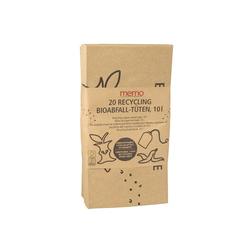 20 memo Bioabfall-Kompostbeutel aus Recyclingpapier 10 l, 23 x 13 x 34 cm