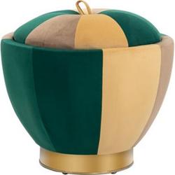 HOMCOM Polsterhocker mit Stauraum grün, braun, orange 52 x 43 cm (ØxH)   Aufbewahrungshocker Fußhocker Sitzhocker Hocker
