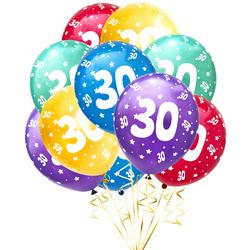 Luftballon Set Zahl 30 für 30. Geburtstag Party 10 Deko Ballons Geburtstagsdeko bunt
