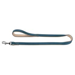 Hunter Hundeleine Canadian aus Elchleder, Verstellbare Leine 20 mm breit, Länge 2 m, petrol/beige