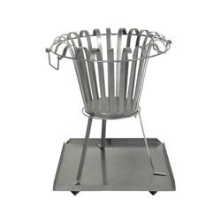 Feuerkorb mit Bodenplatte aus Metall Feuerschale rund Höhe 54 cm, Durchmesser 45,5 cm - Holzkorb