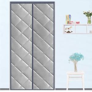 HMHD Magnet Thermovorhang, Full Frame Klettverschluss Haustur Turvorhang Magnetische Anziehungskraft Auto Schließen, für Balkontür Wohnzimmer -Gray-70x210CM