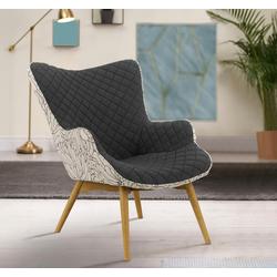 INOSIGN Sessel Duke Print, Karoprägung im Sitzbereich und Dekostoff auf der Rückseite grau