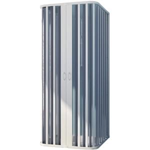 Forte BR131001 Duschkabine, freistehend an 3 Seiten, Reduzierbar, zentrale Öffnung, weiß, 80 – 100 x 80 – 100 x 80 – 100 cm, Höhe 185 cm