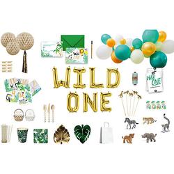 Wild One Party Box, Bis 10 Personen, mit 10 Tierfiguren als Gastgeschenke bunt