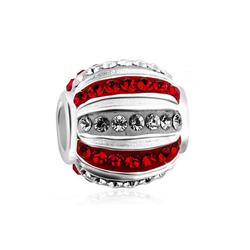 Nenalina Charm-Einhänger Kugel Bead Kristalle 925 Silber rot