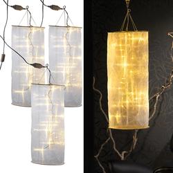 3er-Set Organza-Lichterschlauch-Skulpturen mit 20 LEDs, 60 cm