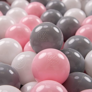 KiddyMoon 200 ∅ 7Cm Kinder Bälle Spielbälle Für Bällebad Baby Plastikbälle Made In EU, Weiß/Grau/Rosa